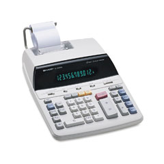 Sharp EL2192RII El2192Rii Two-Color Roller Printing Calculator, 12-Digit Fluorescent, Black/Red