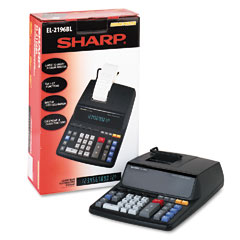 Sharp - el2196bl two-color printing calculator, 12-digit fluorescent, black/red, sold as 1 ea