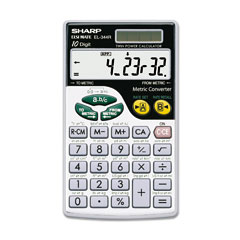 Sharp - el344rb metric conversion wallet calculator, 10-digit lcd, sold as 1 ea