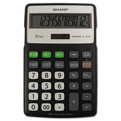 Sharp - el-r287bbk recycled series calculator w/kick-stand, 12-digit, lcd, black, sold as 1 ea