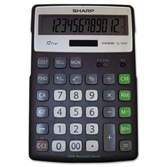 Sharp - el-r297bbk recycled series calculator w/kick-stand, 12-digit, lcd, black, sold as 1 ea