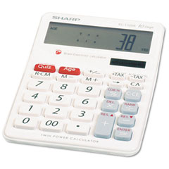 Sharp ELT100AB El-T100Ab Brain Exerciser Calculator, 10-Digit Lcd, Dual Power