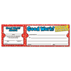 Scholastic 0439652073 Good Work Ticket Awards, 8 1/2W X 2 3/4H, 100 2-Part Tickets/Pack