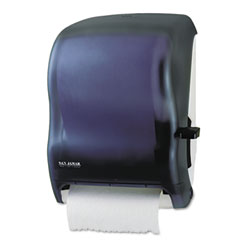 San jamar - lever roll towel dispenser w/o transfer mechanism, black, sold as 1 ea