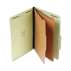 "SJ Paper S61901 2-1/4"" Expansion Classification Folder, Legal, Six-Section, Green, 15/Box"