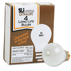 Supreme Lighting 60008 Incandescent Bulbs, 40 Watts, 4/Pack