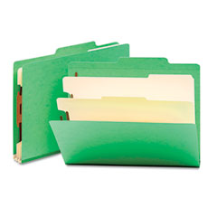 Smead - top tab classification folders, two dividers, six-section, green, 10/box, sold as 1 bx