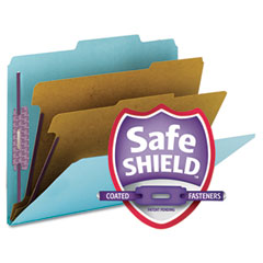 Smead - pressboard classification folders, letter, six-section, blue, 10/box, sold as 1 bx