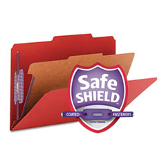 Smead - pressboard classification folders, legal, four-section, bright red, 10/box, sold as 1 bx
