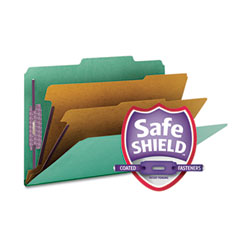 Smead - pressboard classification folders, legal, six-section, green, 10/box, sold as 1 bx