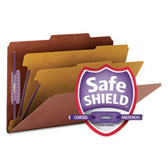 Smead - pressboard classification folders wself tab, legal, six-section, red, 10/box, sold as 1 bx