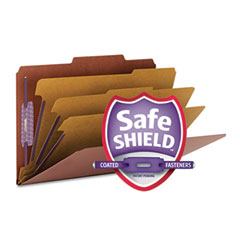 Smead - pressboard classification folders, self tab, legal, eight-section, red, 10/box, sold as 1 bx