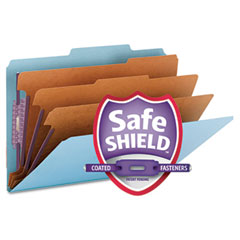 Smead - 3-inch expansion classification folders, 2/5 cut, legal, eight-section, blue, 10/box, sold as 1 bx