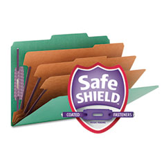 Smead - 3-inch expansion classification folder, 2/5 cut, legal, eight-section, green, 10/box, sold as 1 bx