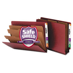 Smead - pressboard end tab classification folders, letter, eight-section, red, 10/box, sold as 1 bx