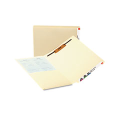 Smead - reinforced end tab pocket folder, fastener, straight cut, letter, manila, 50/box, sold as 1 bx