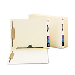 Smead - reinforced end tab pocket folder, two fasteners, letter, manila, 50/box, sold as 1 bx