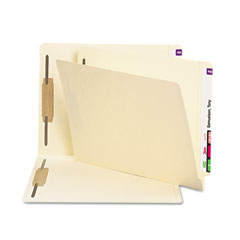 Smead - antimicrobial two-fastener end tab folder, letter, 11 point manila, 50/box, sold as 1 bx