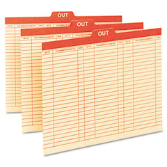 Smead - charge-out record guides, 1/5 red -inchout-inch tab, manila, letter, 100/box, sold as 1 bx