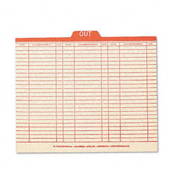 "Smead 51910 Charge-Out Record Guides, 1/5 Red ""Out"" Tab, Manila, Letter, 100/Box"