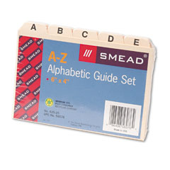Smead 56076 Self-Tab Card Guides, Alpha, 1/5 Tab, Manila, 4 X 6, 25/Set