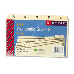 Smead 57076 Self-Tab Card Guides, Alpha, 1/5 Tab, Manila, 5 X 8, 25/Set