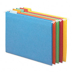 Smead - hanging file folders, 1/5 tab, 11 point stock, letter, assorted colors, 25/box, sold as 1 bx