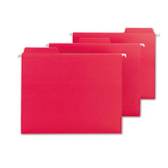 Smead - fastab hanging file folders, letter, red, 20/box, sold as 1 bx