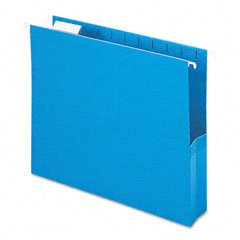 Smead - 2-inch capacity closed side flexible hanging file pockets, letter, sky blue, 25/box, sold as 1 bx