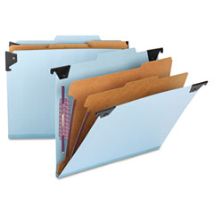 Smead - six section hanging classification folder, pressboard/kraft, letter, blue, sold as 1 ea