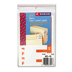 Smead 67157 Alpha-Z Color-Coded First Letter Name Labels, F & S, Orange, 100/Pack
