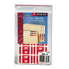 Smead 67184 Alpha-Z Color-Coded Second Letter Labels, Letter N, Red, 100/Pack