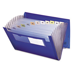 Smead - expanding file, 12 pockets, letter, blue/clear, sold as 1 ea