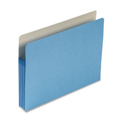 Smead - 3 1/2 inch expansion colored file pocket, straight tab, letter, blue, 25/box, sold as 1 ea