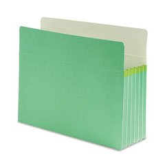 Smead - 5 1/4 inch expansion colored file pocket, straight tab, letter, green, 10/box, sold as 1 ea