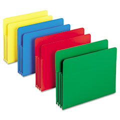 Smead - expansion drop front file pockets, straight tab, poly, letter, assorted, 4/box, sold as 1 bx