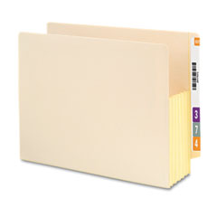 Smead - 5 1/4 inch expansion end tab file pockets with tyvek, letter, manila, 10/box, sold as 1 bx