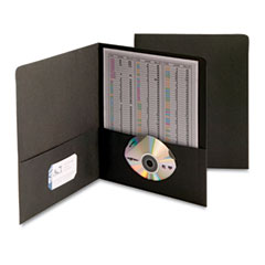 Smead - two-pocket portfolio, embossed leather grain paper, black, 25/box, sold as 1 bx