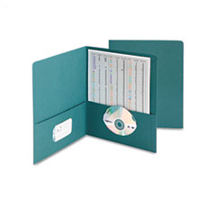 Smead - two-pocket portfolio, embossed leather grain paper, teal, 25/box, sold as 1 bx