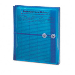 Smead 89522 Poly String & Button Booklet Envelope, 9 3/4 X 11 5/8 X 1 1/4, Blue, 5/Pack