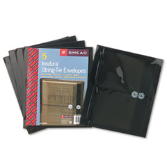 Smead SMD89525 Poly String & Button Booklet Envelope, 9 3/4 x 11 5/8 x 1 1/4, Smoke, 5/Pack