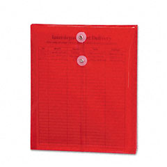 Smead 89547 Poly String & Button Envelope, 9 3/4 X 11 5/8 X 1 1/4, Red, 5/Pack