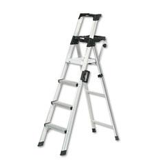 Cosco - six-foot lightweight aluminum folding step ladder w/leg lock & handle, 300lb, sold as 1 ea