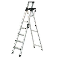Cosco - eight-foot lightweight aluminum folding step ladder w/leg lock & handle, 300lb, sold as 1 ea