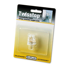 Softalk - twisstop rotating phone cord detangler, clear, sold as 1 ea