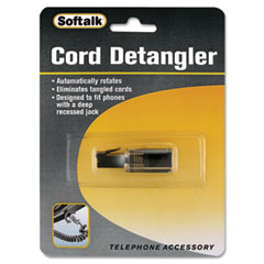Softalk - rotating 360 telephone cord detangler, clear/black, sold as 1 ea