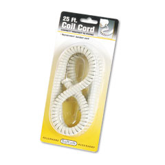 Softalk - coiled phone cord, plug/plug, 25 ft., ash, sold as 1 ea