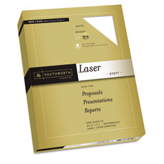 Southworth 31-724-10 25% Cotton Laser Paper, White, 24 Lbs., Smooth Finish, 8-1/2 X 11, 500/Box