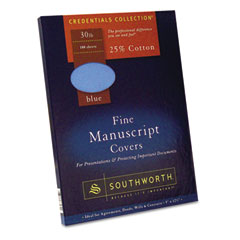 Southworth 41SM 25% Cotton Manuscript Covers, Blue, 30 Lbs., Wove, 9 X 12-1/2, 100/Box