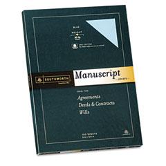 Southworth - 25% cotton fine manuscript covers, 30 lbs., 9 x 12-1/2, blue, 100/box, sold as 1 bx